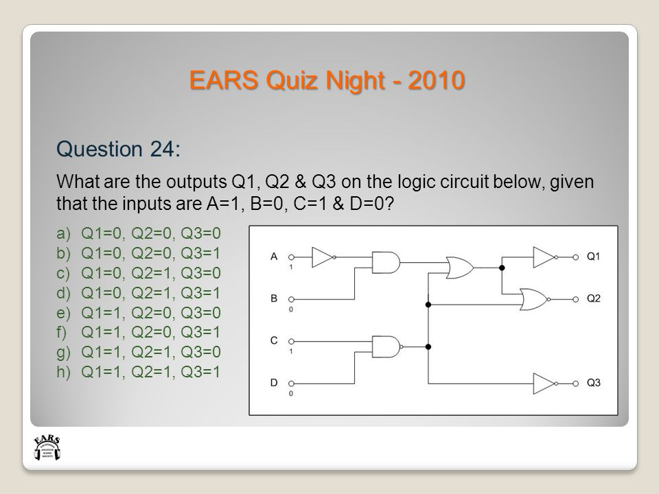 EARS Quiz Night - 2010 Question 24: What are the outputs Q1, Q2 & Q3 on the logic circuit below, given that the inputs are A=1, B=0, C=1 & D=0.