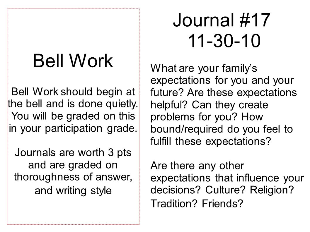 Journal #17 11-30-10 What are your family's expectations for you and your future.