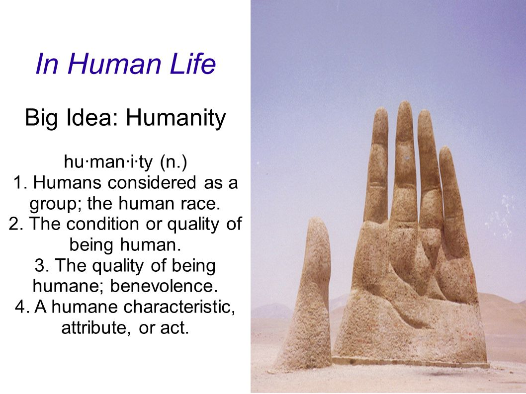 In Human Life Big Idea: Humanity hu·man·i·ty (n.) 1. Humans considered as a group; the human race. 2. The condition or quality of being human. 3. The