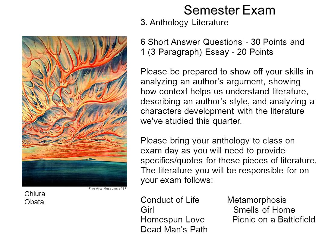 Semester Exam 3.