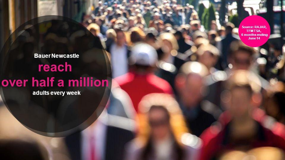 Bauer Newcastle reach over half a million adults every week Source: RAJAR, TFM TSA, 6 months ending June 14