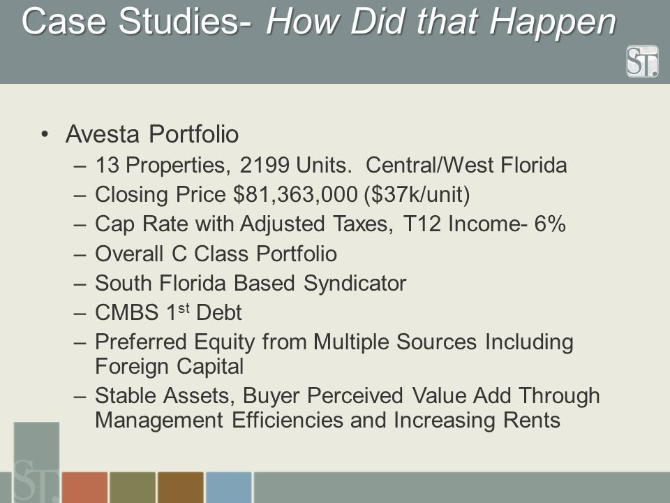 Case Studies- How Did that Happen Avesta Portfolio –13 Properties, 2199 Units. Central/West Florida –Closing Price $81,363,000 ($37k/unit) –Cap Rate w
