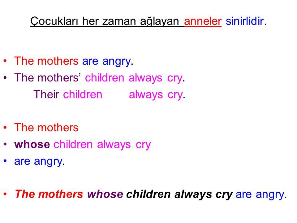 Çocukları her zaman ağlayan anneler sinirlidir. The mothers are angry. The mothers' children always cry. Their children always cry. The mothers whose