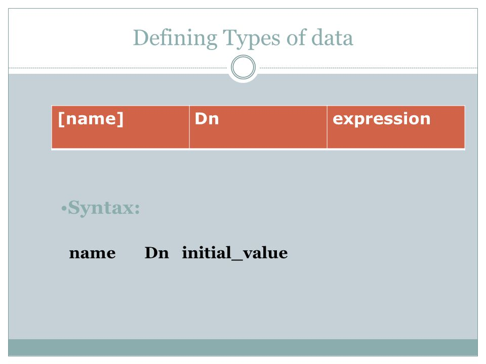 Defining Types of data [name]Dnexpression Syntax: name Dn initial_value