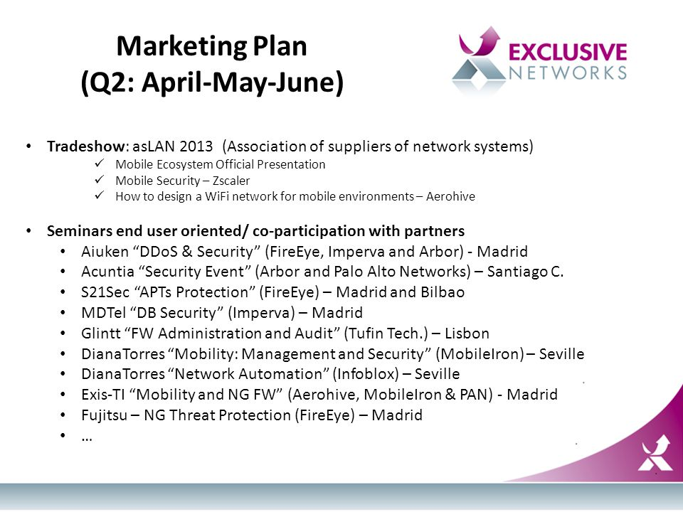 Marketing Plan (Q2: April-May-June) Tradeshow: asLAN 2013 (Association of suppliers of network systems) Mobile Ecosystem Official Presentation Mobile Security – Zscaler How to design a WiFi network for mobile environments – Aerohive Seminars end user oriented/ co-participation with partners Aiuken DDoS & Security (FireEye, Imperva and Arbor) - Madrid Acuntia Security Event (Arbor and Palo Alto Networks) – Santiago C.
