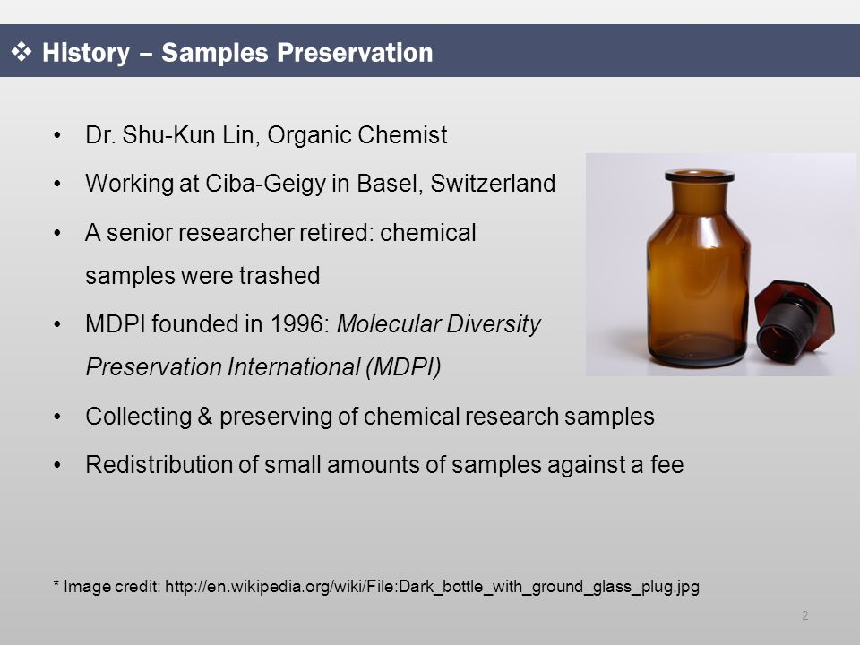  History – Samples Preservation Dr.