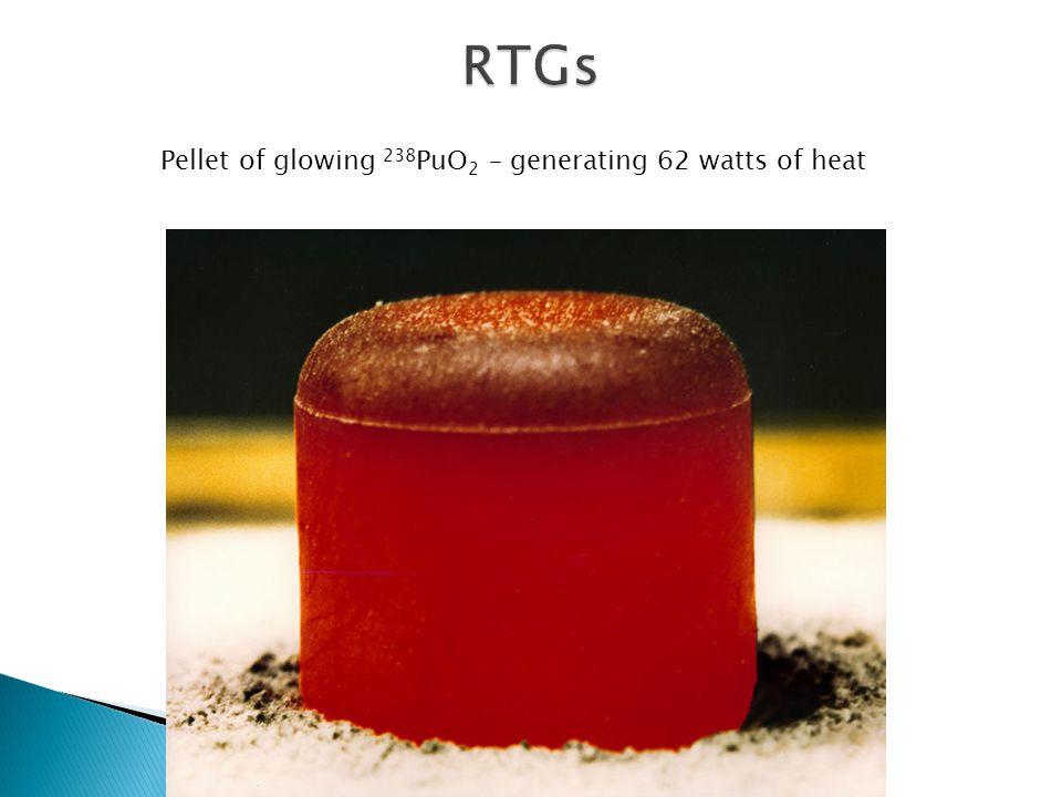 Pellet of glowing 238 PuO 2 – generating 62 watts of heat