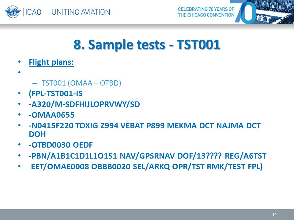 8. Sample tests - TST001 Flight plans: – TST001 (OMAA – OTBD) (FPL-TST001-IS -A320/M-SDFHIJLOPRVWY/SD -OMAA0655 -N0415F220 TOXIG Z994 VEBAT P899 MEKMA