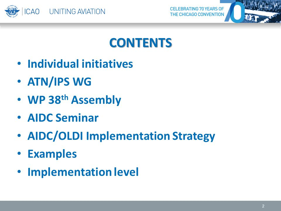 CONTENTS Individual initiatives ATN/IPS WG WP 38 th Assembly AIDC Seminar AIDC/OLDI Implementation Strategy Examples Implementation level 2