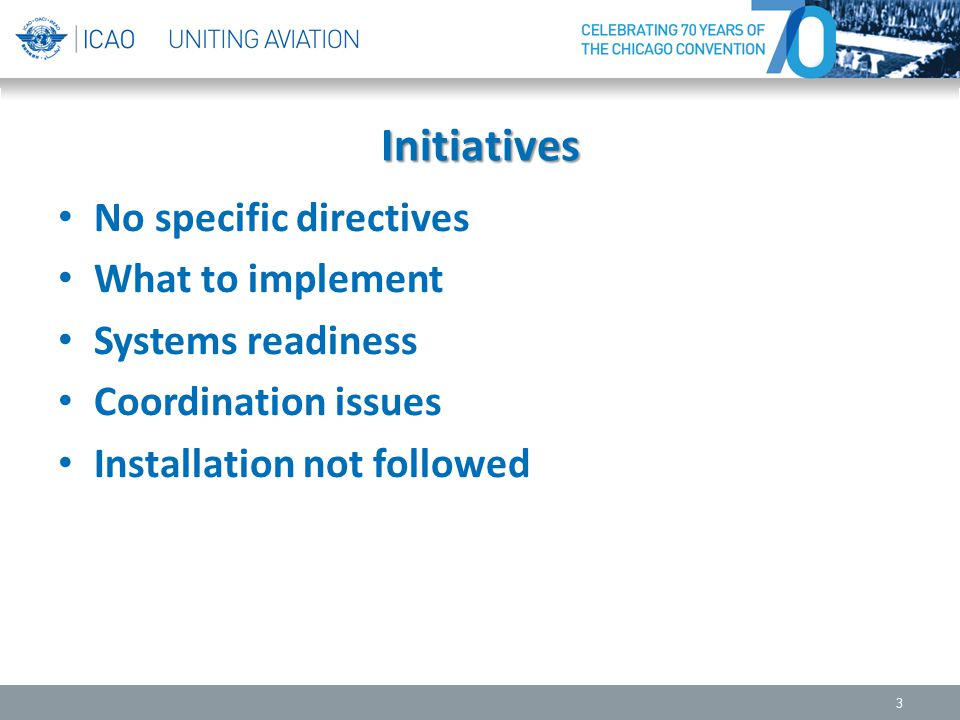 Initiatives No specific directives What to implement Systems readiness Coordination issues Installation not followed 3