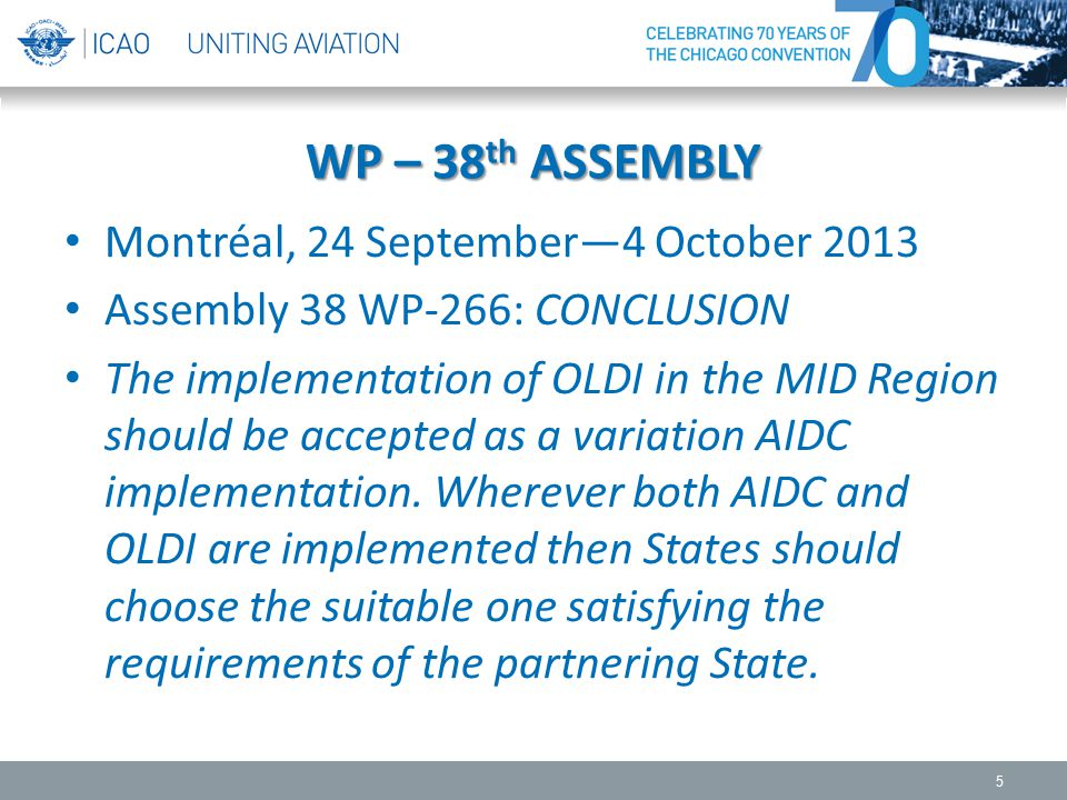WP – 38 th ASSEMBLY Montréal, 24 September—4 October 2013 Assembly 38 WP-266: CONCLUSION The implementation of OLDI in the MID Region should be accept