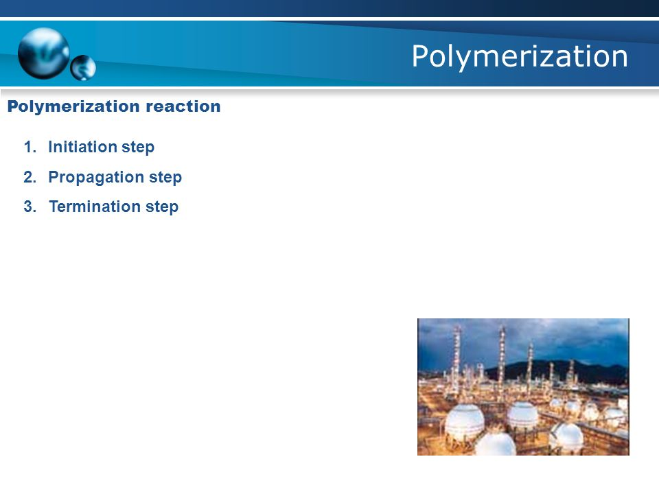 Polymerization 1.Initiation step 2.Propagation step 3.Termination step Polymerization reaction