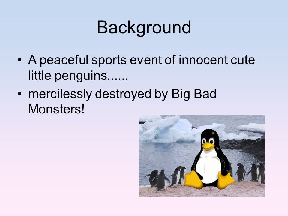 Background A peaceful sports event of innocent cute little penguins......