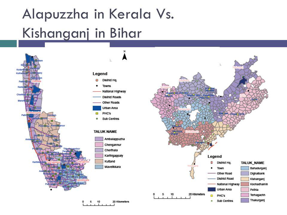Alapuzzha in Kerala Vs. Kishanganj in Bihar