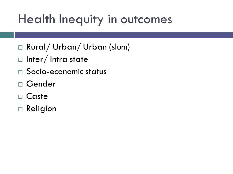 Health Inequity in outcomes  Rural/ Urban/ Urban (slum)  Inter/ Intra state  Socio-economic status  Gender  Caste  Religion