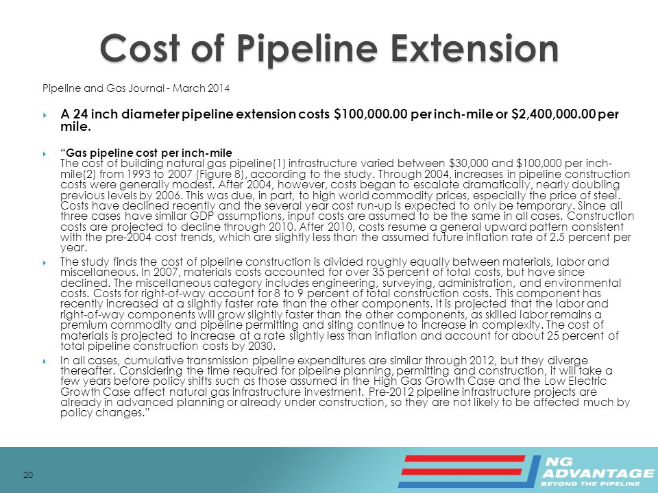 Pipeline and Gas Journal - March 2014  A 24 inch diameter pipeline extension costs $100,000.00 per inch-mile or $2,400,000.00 per mile.