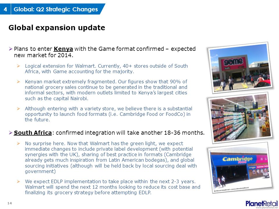 14  Plans to enter Kenya with the Game format confirmed – expected new market for 2014.