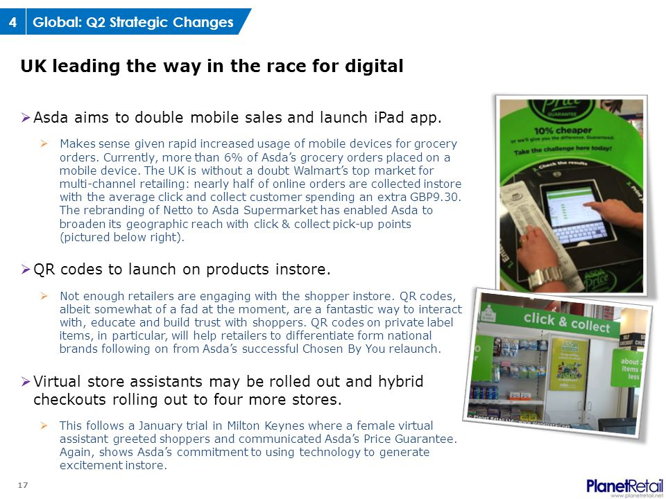 17  Asda aims to double mobile sales and launch iPad app.