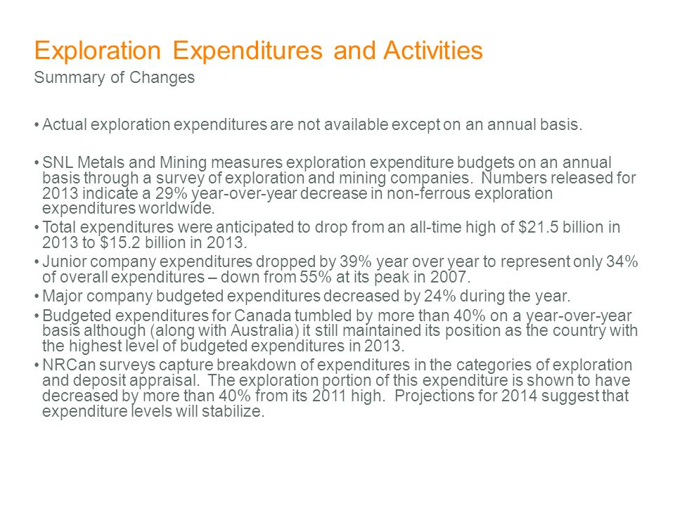 Exploration Expenditures and Activities Actual exploration expenditures are not available except on an annual basis. SNL Metals and Mining measures ex