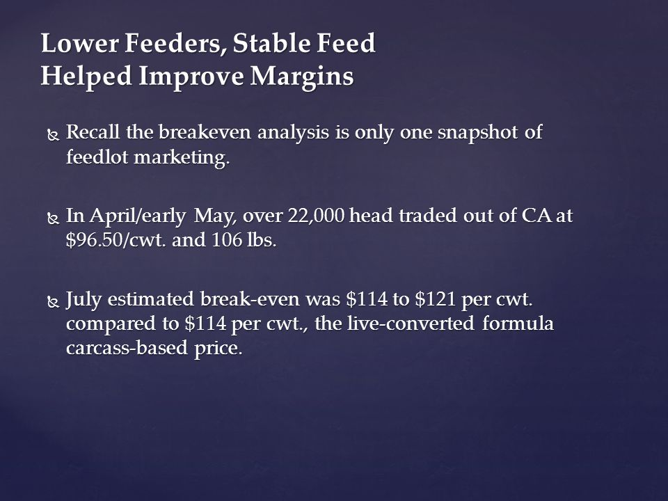  Recall the breakeven analysis is only one snapshot of feedlot marketing.