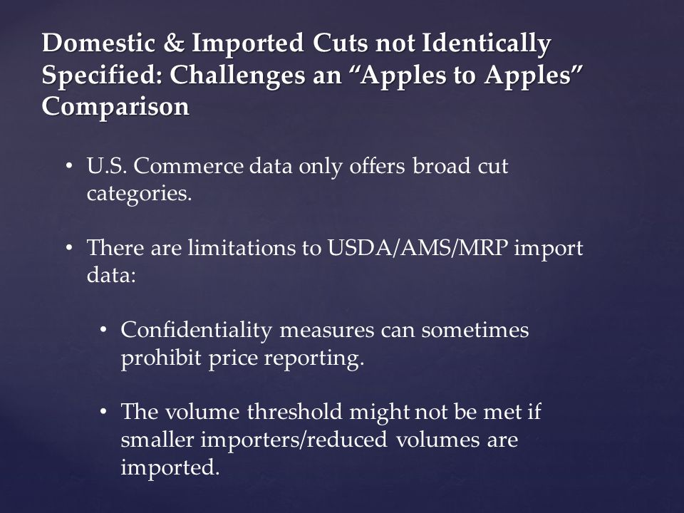Domestic & Imported Cuts not Identically Specified: Challenges an Apples to Apples Comparison U.S.