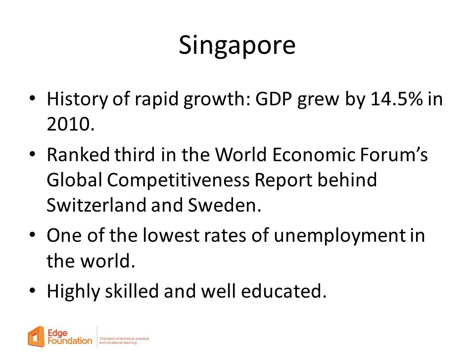 Singapore History of rapid growth: GDP grew by 14.5% in 2010.
