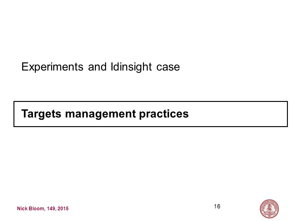 Nick Bloom, 149, 2015 16 Experiments and Idinsight case Targets management practices