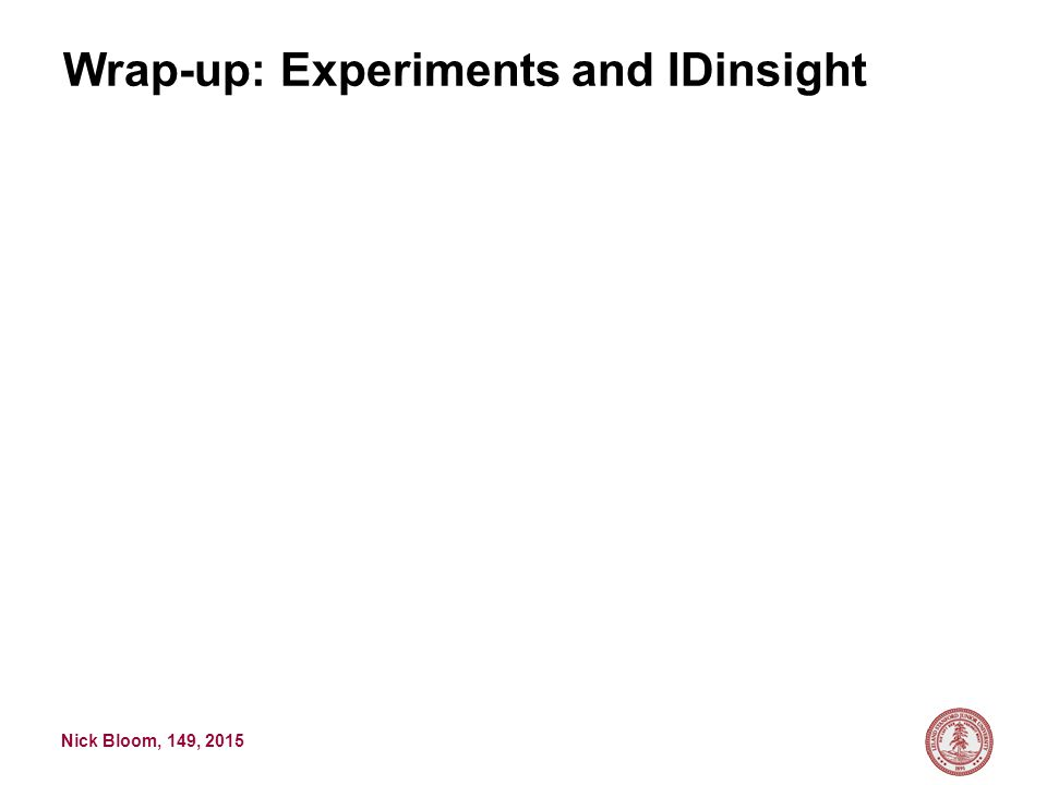 Nick Bloom, 149, 2015 Wrap-up: Experiments and IDinsight