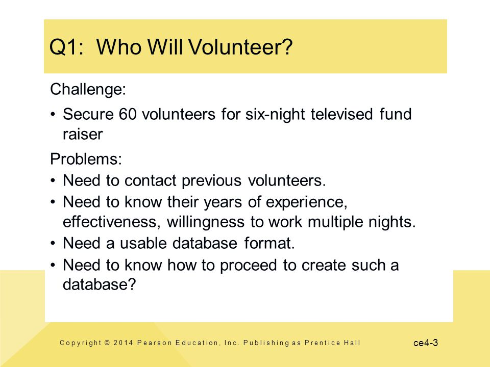 ce4-3 Q1: Who Will Volunteer? Copyright © 2014 Pearson Education, Inc. Publishing as Prentice Hall Challenge: Secure 60 volunteers for six-night telev
