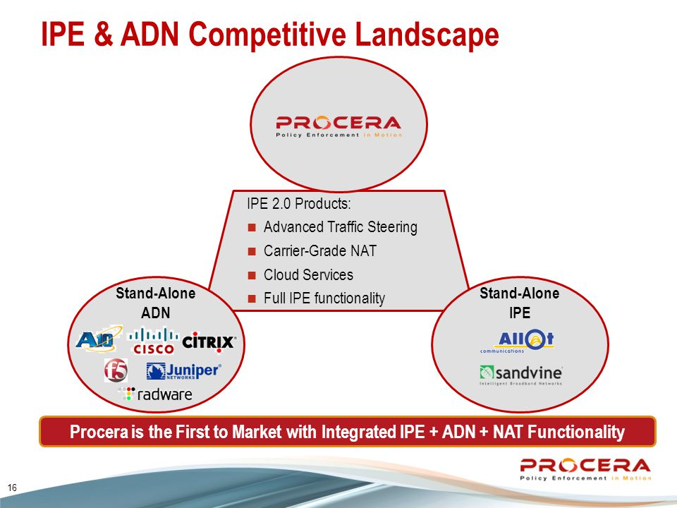 IPE & ADN Competitive Landscape Procera is the First to Market with Integrated IPE + ADN + NAT Functionality IPE 2.0 Products: Advanced Traffic Steering Carrier-Grade NAT Cloud Services Full IPE functionality Stand-Alone ADN Stand-Alone IPE 16