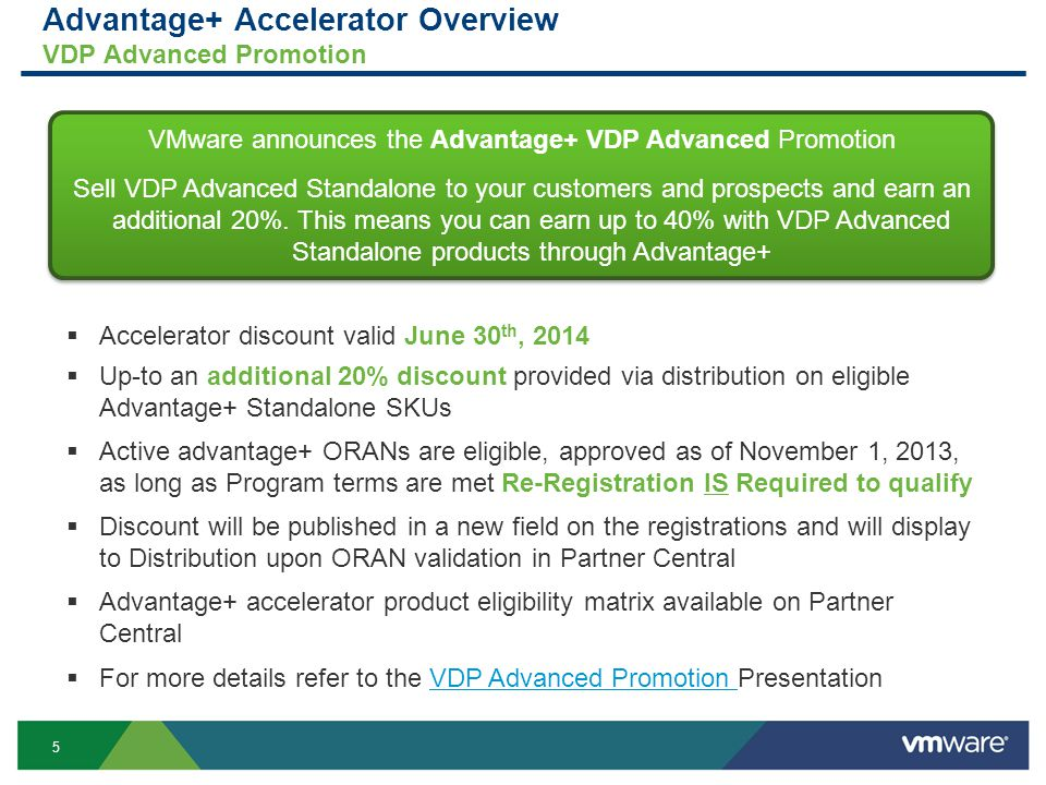 5 Advantage+ Accelerator Overview VDP Advanced Promotion VMware announces the Advantage+ VDP Advanced Promotion Sell VDP Advanced Standalone to your customers and prospects and earn an additional 20%.