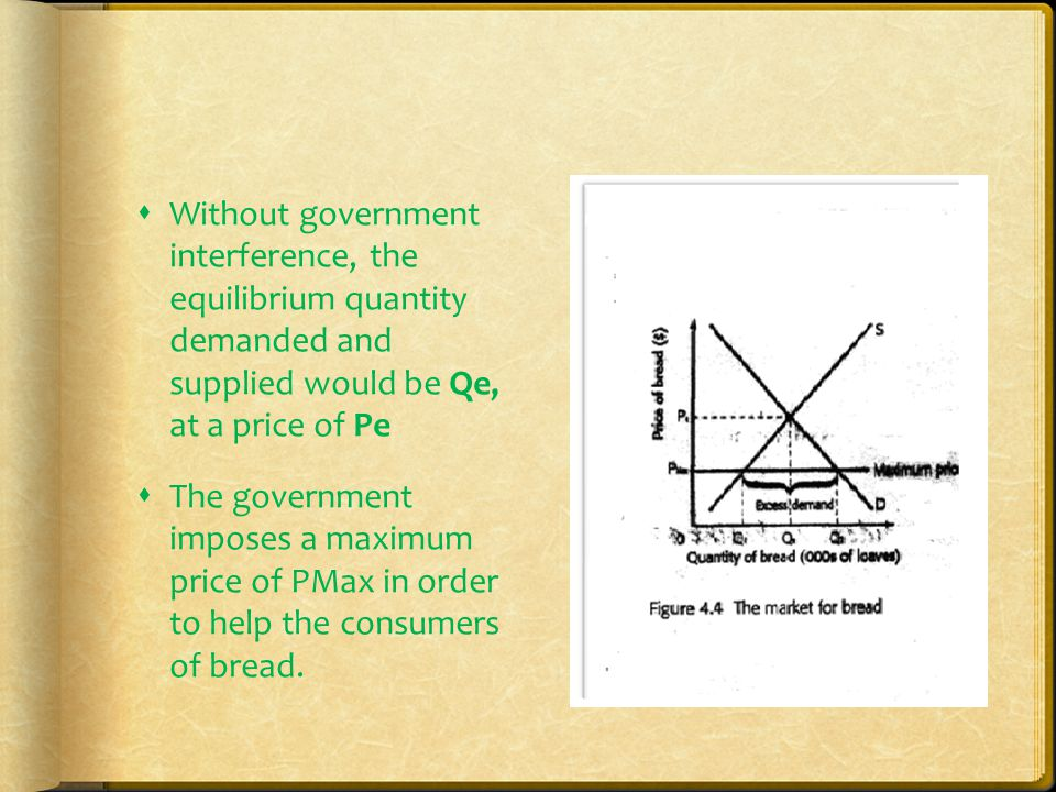 Government intervention  The government would normally eliminate the excess supply by ring up the surplus products, at the minimum price, thus shifting demand curve to the right and creating a new equilibrium at p min, with Q2 being demanded and supplied.