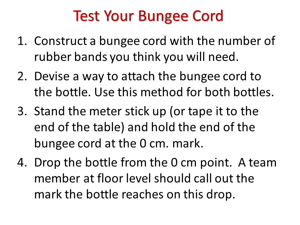 Test Your Bungee Cord 1.Construct a bungee cord with the number of rubber bands you think you will need.
