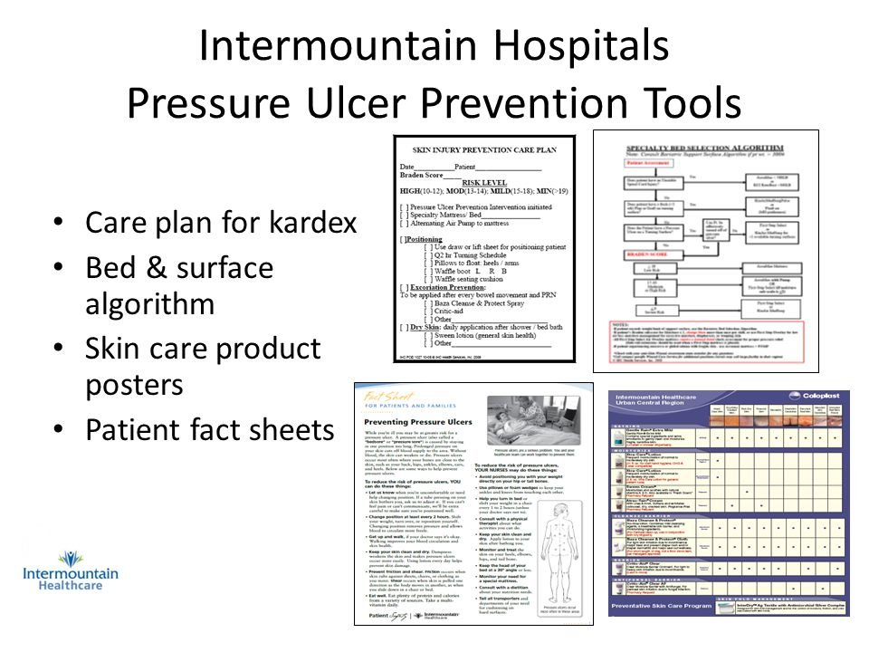 Intermountain Hospitals Pressure Ulcer Prevention Tools Care plan for kardex Bed & surface algorithm Skin care product posters Patient fact sheets Wor