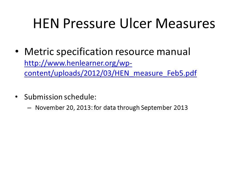 HEN Pressure Ulcer Measures Metric specification resource manual http://www.henlearner.org/wp- content/uploads/2012/03/HEN_measure_Feb5.pdf http://www