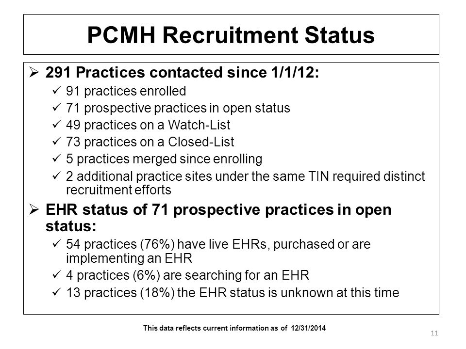 PCMH Recruitment Status  291 Practices contacted since 1/1/12: 91 practices enrolled 71 prospective practices in open status 49 practices on a Watch-List 73 practices on a Closed-List 5 practices merged since enrolling 2 additional practice sites under the same TIN required distinct recruitment efforts  EHR status of 71 prospective practices in open status: 54 practices (76%) have live EHRs, purchased or are implementing an EHR 4 practices (6%) are searching for an EHR 13 practices (18%) the EHR status is unknown at this time 11 This data reflects current information as of 12/31/2014