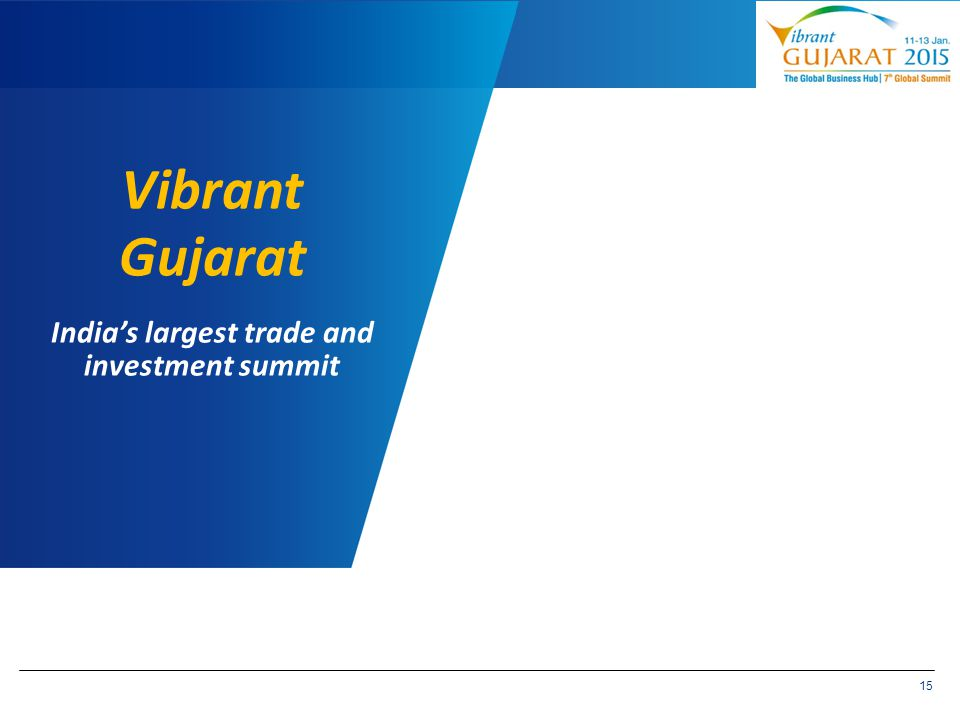 15 Vibrant Gujarat India's largest trade and investment summit