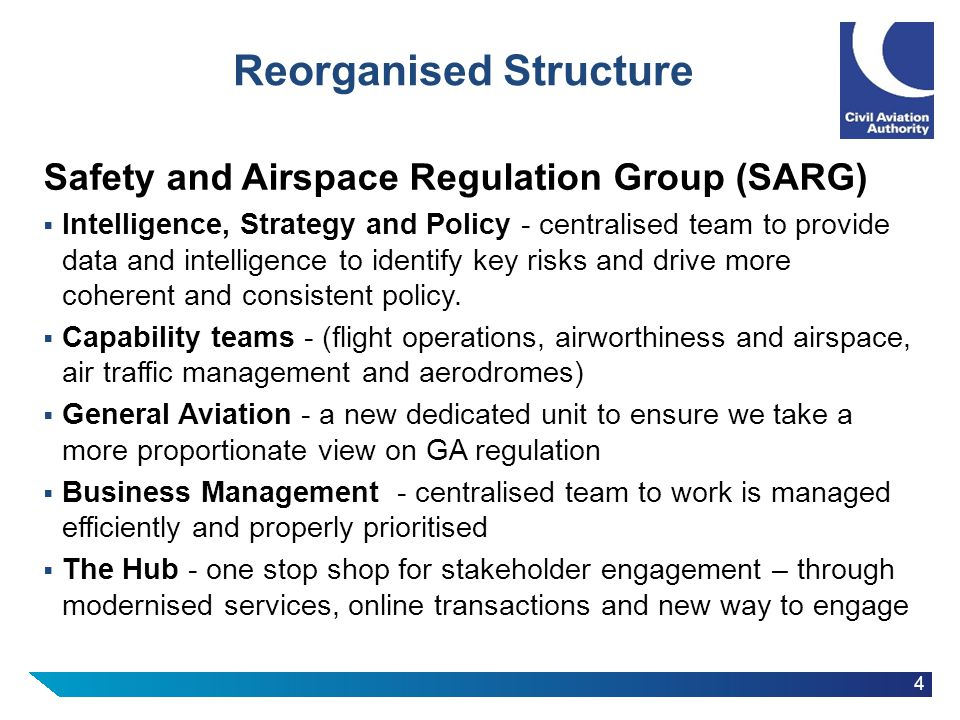 4 Reorganised Structure Safety and Airspace Regulation Group (SARG)  Intelligence, Strategy and Policy - centralised team to provide data and intelli
