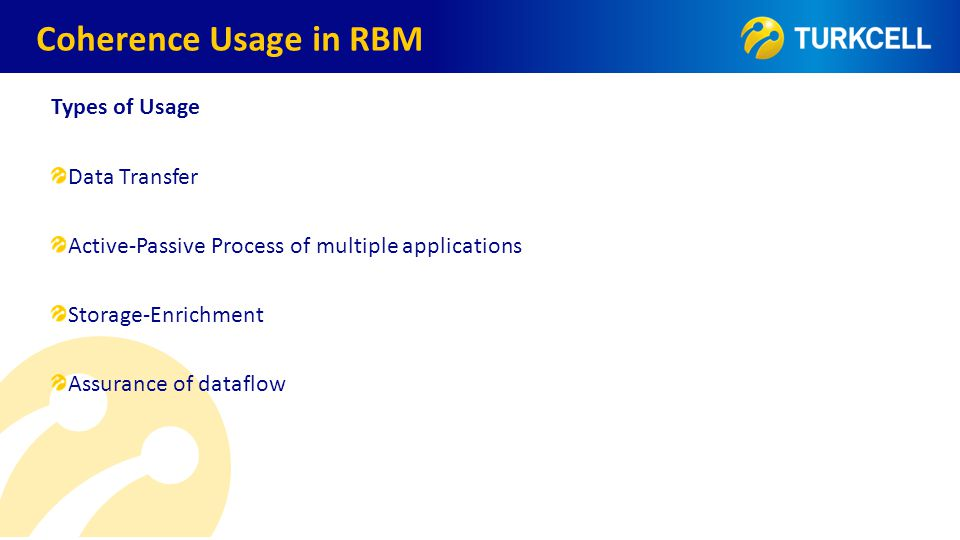 TURKCELL DAHİLİ Types of Usage Data Transfer Active-Passive Process of multiple applications Storage-Enrichment Assurance of dataflow Coherence Usage in RBM
