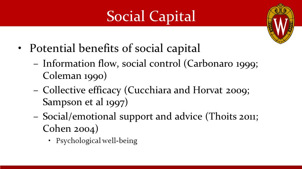 Social Capital Potential benefits of social capital –Information flow, social control (Carbonaro 1999; Coleman 1990) –Collective efficacy (Cucchiara and Horvat 2009; Sampson et al 1997) –Social/emotional support and advice (Thoits 2011; Cohen 2004) Psychological well-being