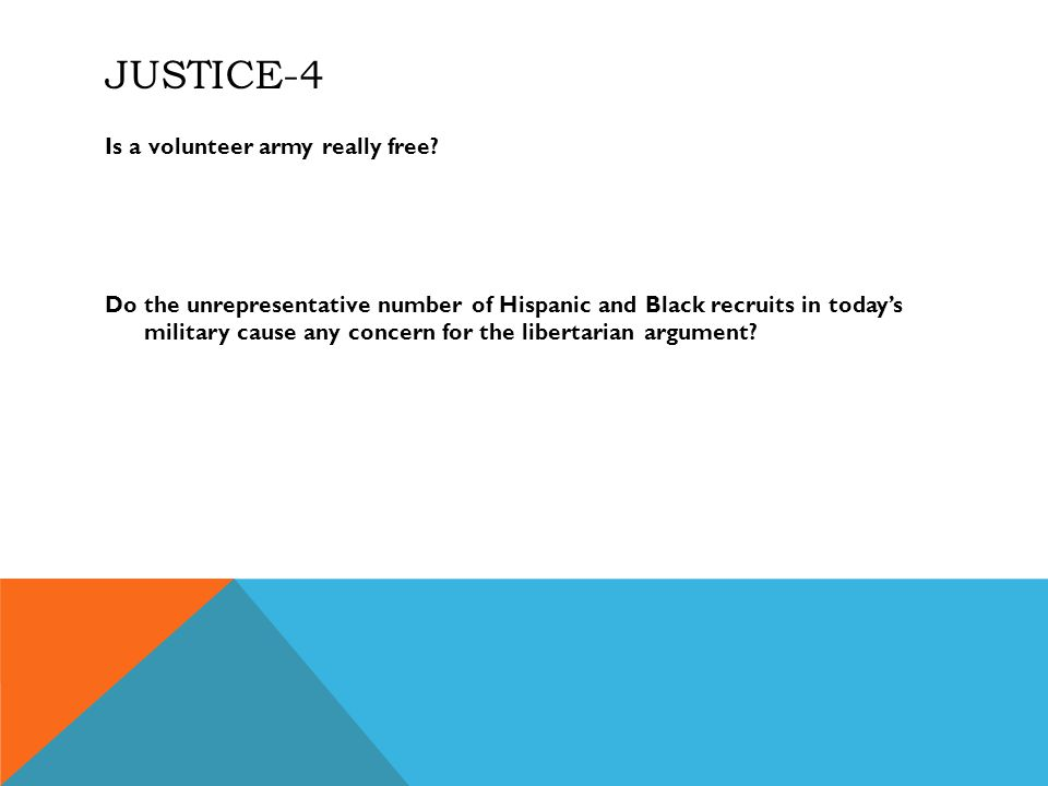 JUSTICE-4 Is a volunteer army really free.