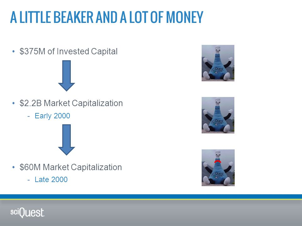 A LITTLE BEAKER AND A LOT OF MONEY $375M of Invested Capital $2.2B Market Capitalization -Early 2000 $60M Market Capitalization -Late 2000