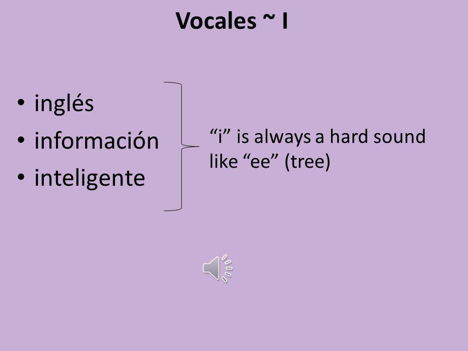 Vocales ~ E leer tenis estudiar e is always a soft sound like eh (egg)