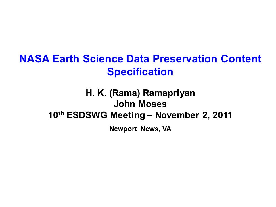 NASA Earth Science Data Preservation Content Specification H.