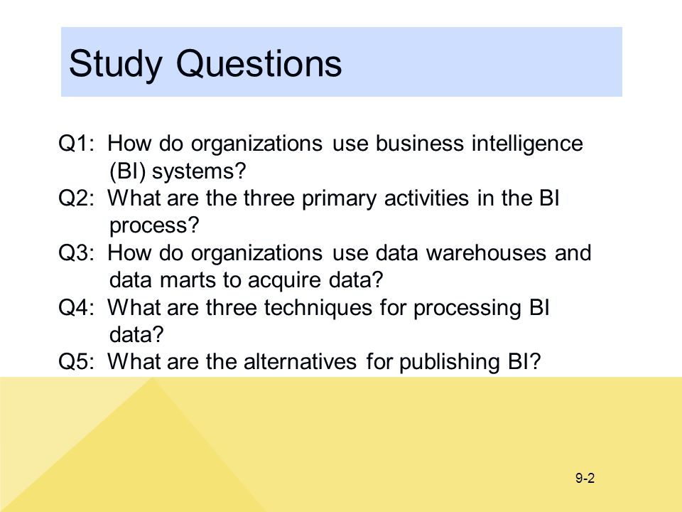 9-2 Study Questions Q1: How do organizations use business intelligence (BI) systems.
