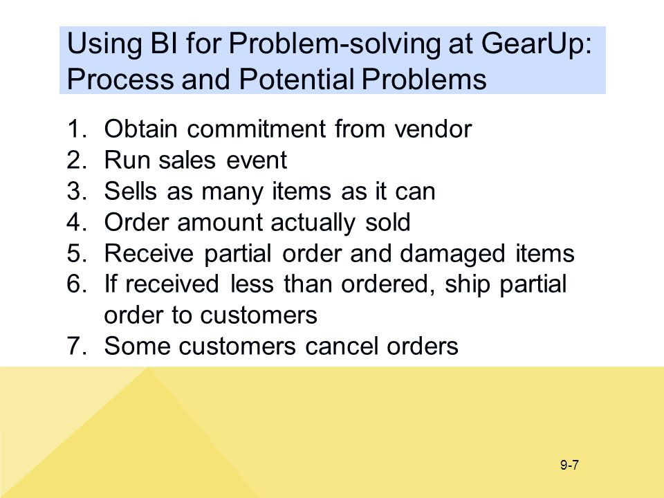 9-7 Using BI for Problem-solving at GearUp: Process and Potential Problems 1.Obtain commitment from vendor 2.Run sales event 3.Sells as many items as