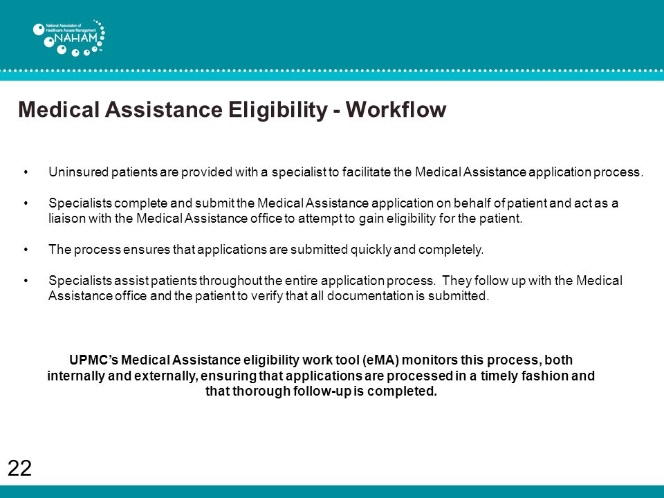 22 Uninsured patients are provided with a specialist to facilitate the Medical Assistance application process.