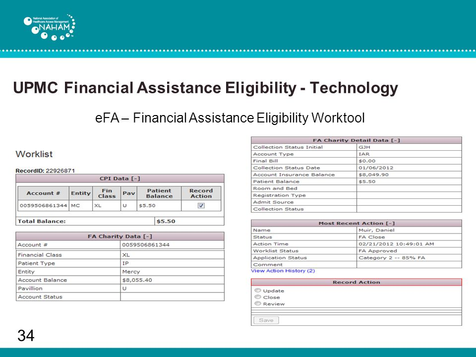 UPMC Financial Assistance Eligibility - Technology 34 eFA – Financial Assistance Eligibility Worktool