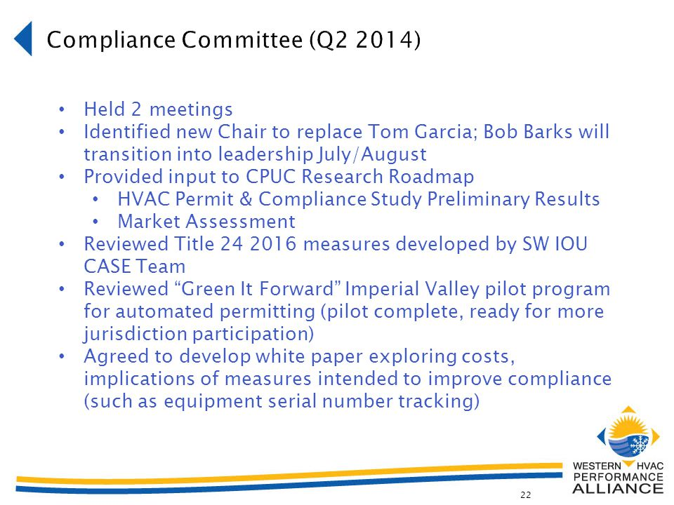 22 Held 2 meetings Identified new Chair to replace Tom Garcia; Bob Barks will transition into leadership July/August Provided input to CPUC Research Roadmap HVAC Permit & Compliance Study Preliminary Results Market Assessment Reviewed Title 24 2016 measures developed by SW IOU CASE Team Reviewed Green It Forward Imperial Valley pilot program for automated permitting (pilot complete, ready for more jurisdiction participation) Agreed to develop white paper exploring costs, implications of measures intended to improve compliance (such as equipment serial number tracking)