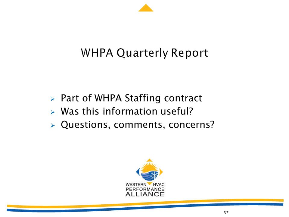  Part of WHPA Staffing contract  Was this information useful?  Questions, comments, concerns? 37